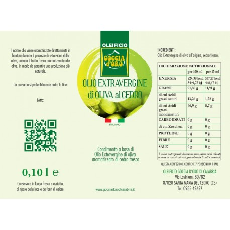Extravergine aromatizzato al Cedro bottiglia assaggio
